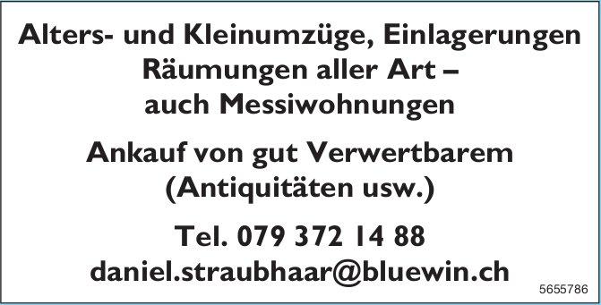Daniel Straubhaar - Alters- und Kleinumzüge, Einlagerungen Räumungen aller Art–auch Messiwohnungen