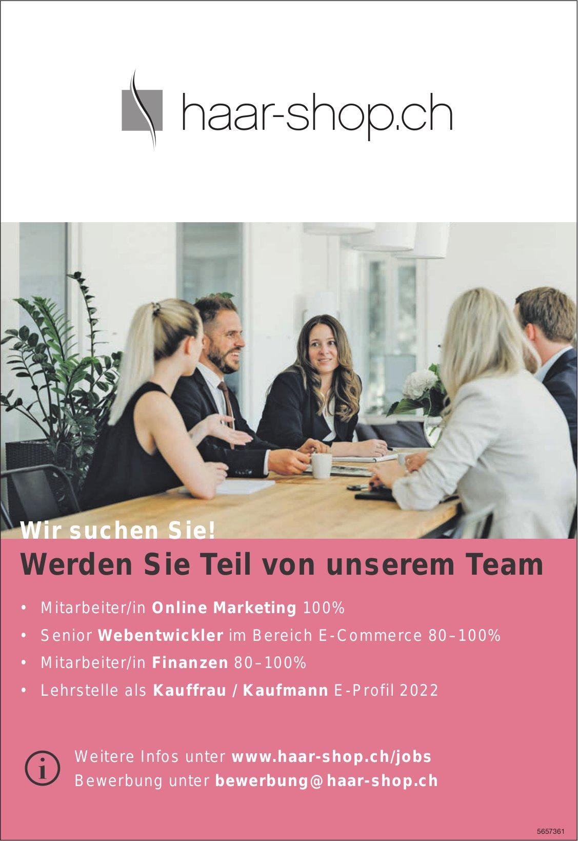 Mitarbeiter/in Online Marketing 100%, Senior Webentwickler 80 – 100%,  Mitarbeiter/in 80 – 100% Finanzen, Haar Shop, gesucht