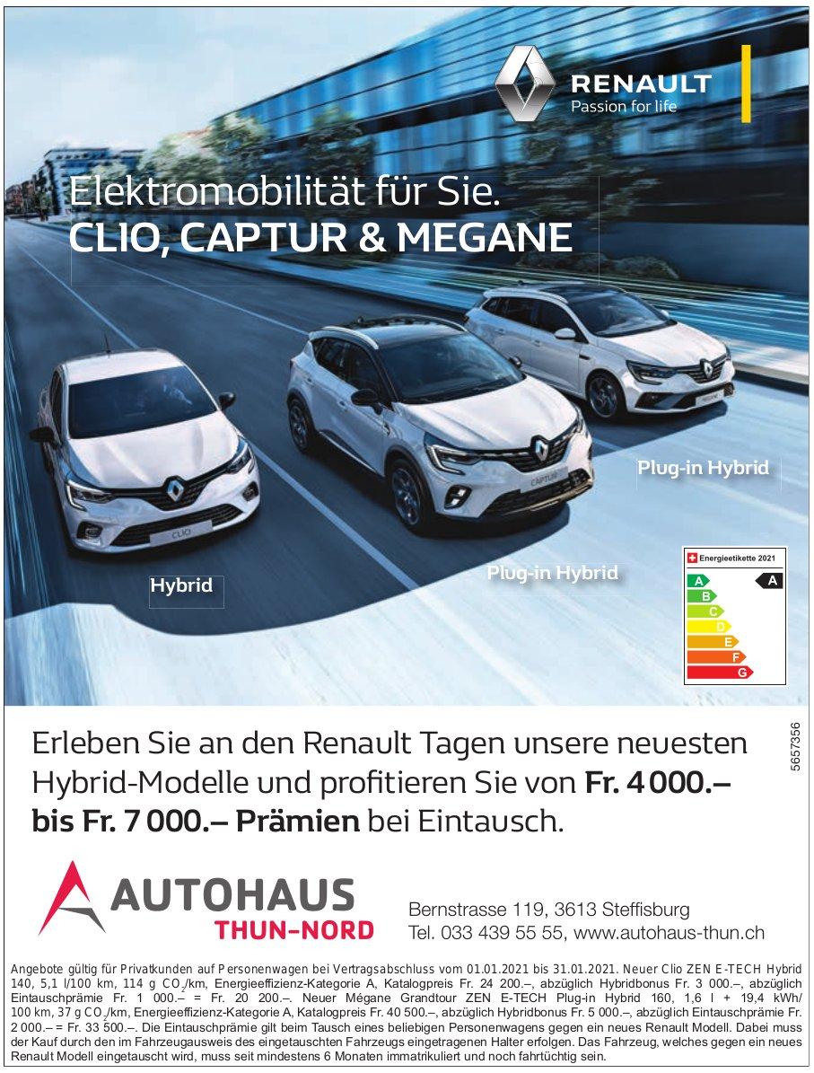 Autohaus Thun-Nord, Steffisburg - Elektromobilität für Sie. Renault Clio, Captur & Megane