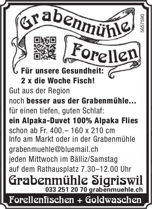 Grabenmühle Sigriswil, Forellenfischen + Goldwaschen