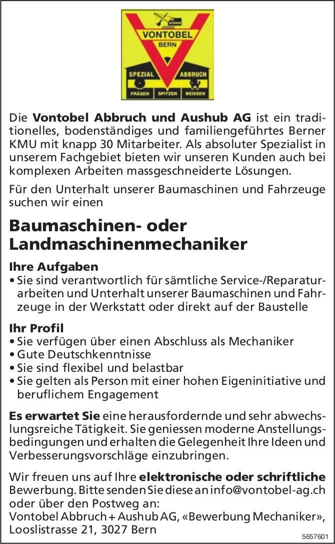 Baumaschinen- oder Landmaschinenmechaniker, Vontobel Abbruch + Aushub AG, Bern, gesucht