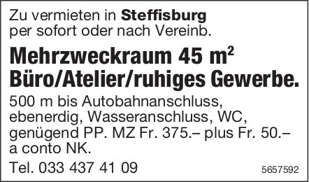 Mehrzweckraum 45 m Büro/Atelier/ruhiges Gewerbe., Steffisburg, zu vermieten