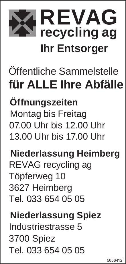 REVAG recycling ag, Heimberg & Spiez - Öffentliche Sammelstelle für alle Ihre Abfälle