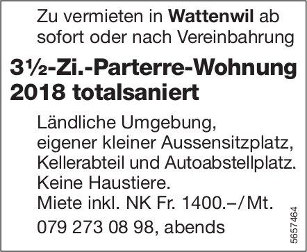 3 ½-Zi.-Parterre-Wohnung 2018 totalsaniert, Wattenwil, zu vermieten