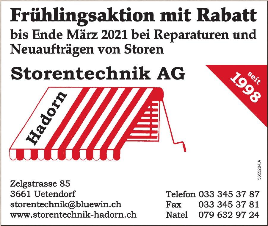 Storentechnik AG, Uetendorf - Frühlingsaktion mit Rabatt bis Ende März 2021 bei Reparaturen und Neuaufträgen von Storen