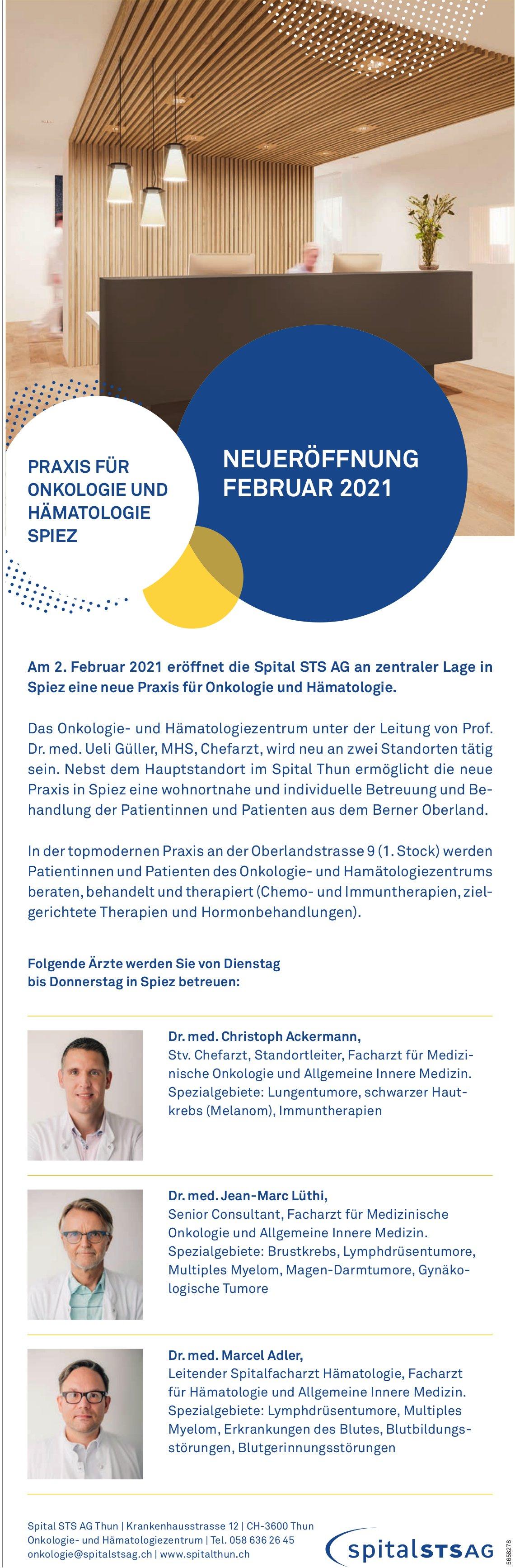 Neueröffnung Praxis für Onkologie und Hämatologie, 2. Februar, Spital STS AG, Spiez