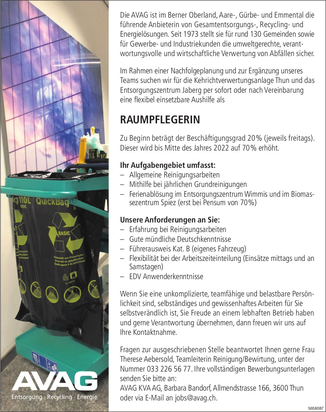 Raumpflegerin, AVAG KVA AG, Thun, gesucht