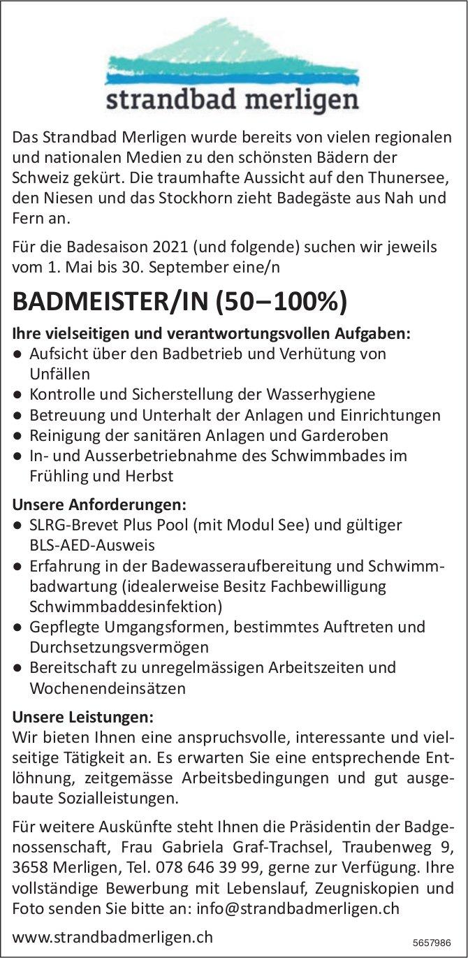 Badmeister/In (50–100%), Strandbad, Merligen, gesucht