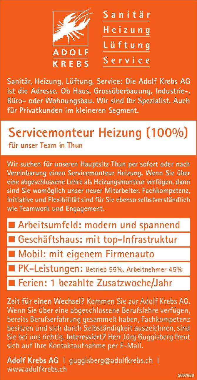 Servicemonteur Heizung (100%), Adolf Krebs, Thun, gesucht