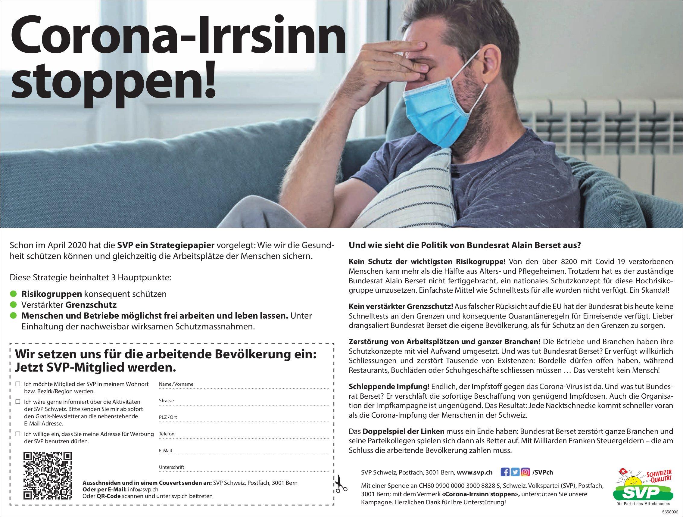 SVP - Corona-Irrsinn stoppen!