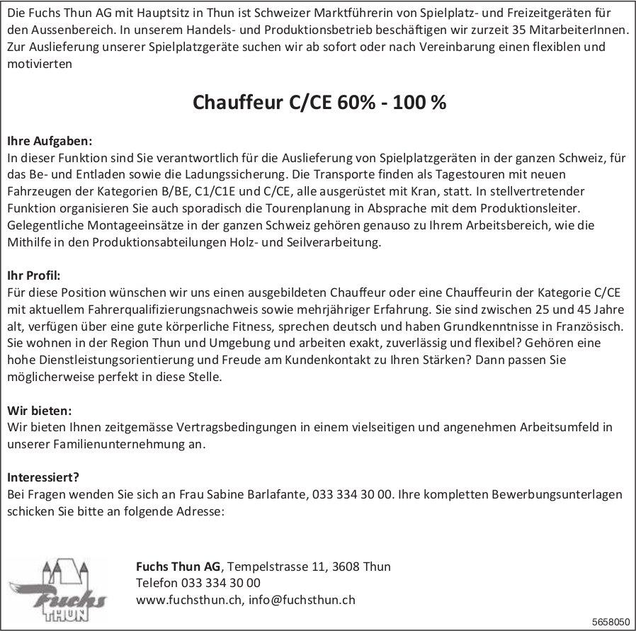 Chauffeur C/CE 60% - 100%, Fuchs Thun AG, gesucht