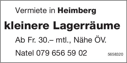 Kleinere Lagerräume, Heimberg, zu vermieten