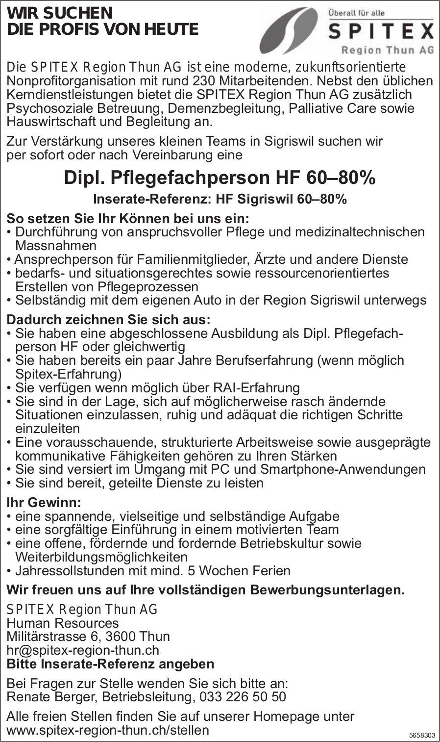 Dipl. Pflegefachperson HF 60–80%, SPITEX Region Thun AG, gesucht