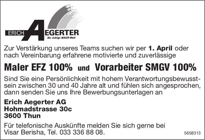 Maler EFZ 100% und Vorarbeiter SMGV 100%, Erich Aegerter AG, Thun, gesucht
