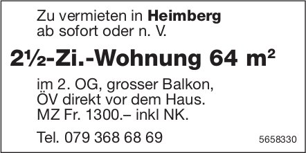 2½-Zi.-Wohnung 64 m2, Heimberg, zu vermieten