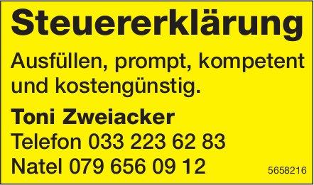 Toni Zweiacker - Steuererklärung Ausfüllen, prompt, kompetent und kostengünstig.