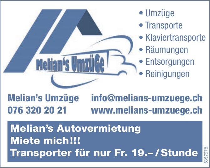 Melian's Umzuege - Melian's Autovermietung: Miete mich!!!