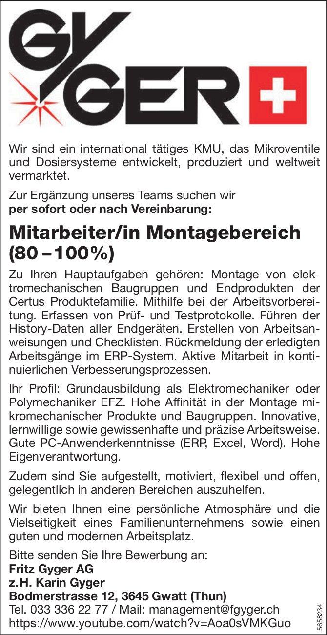 Mitarbeiter/in Montagebereich (80 – 100%), Fritz Gyger AG, Gwatt, gesucht