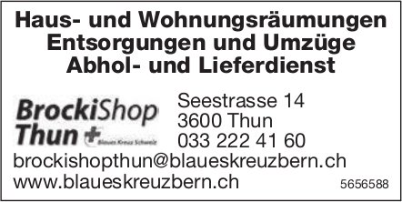BrockiShop Thun - Haus- und Wohnungsräumungen Entsorgungen und Umzüge Abhol- und Lieferdienst