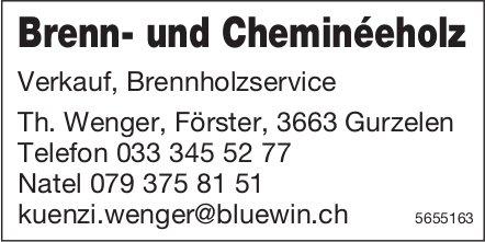 Th. Wenger, Gurzelen - Brenn- und Cheminéeholz - Verkauf, Brennholzservice
