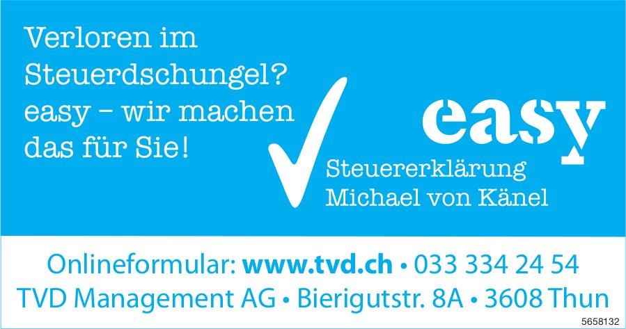 TVD Management AG, Thun - Verloren im Steuerdschungel? easy – wir machen das für Sie!