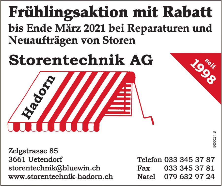 Hadorn Storentechnik AG, Uetendorf - Frühlingsaktion mit Rabatt