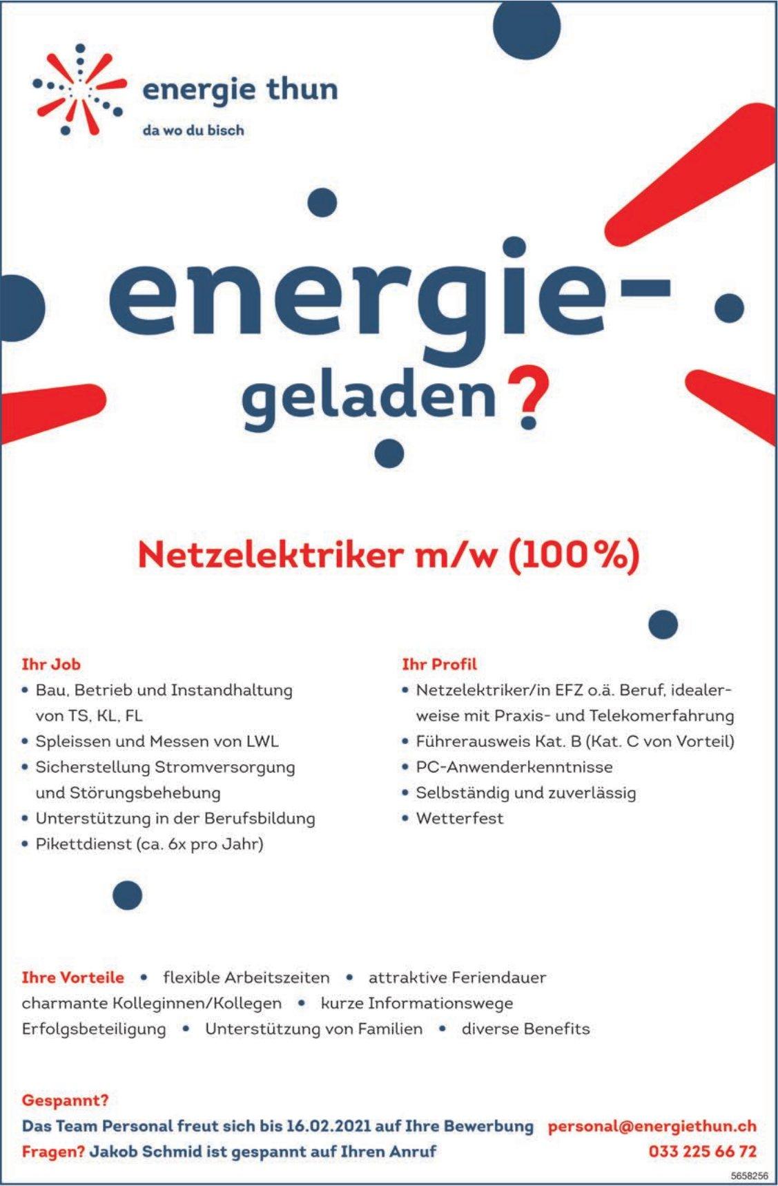 Netzelektriker m/w (100%), Energie Thun, gesucht