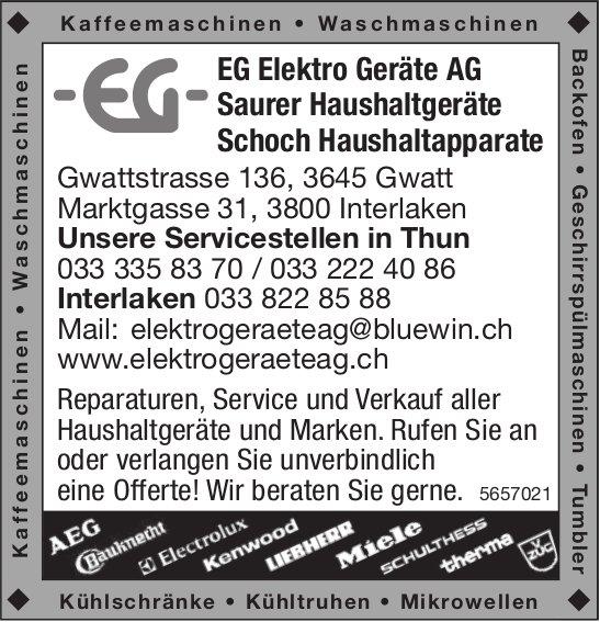 EG Elektro Geräte AG, Gwatt, Interlaken & Thun - Saurer Haushaltgeräte & Schoch Haushaltapparate