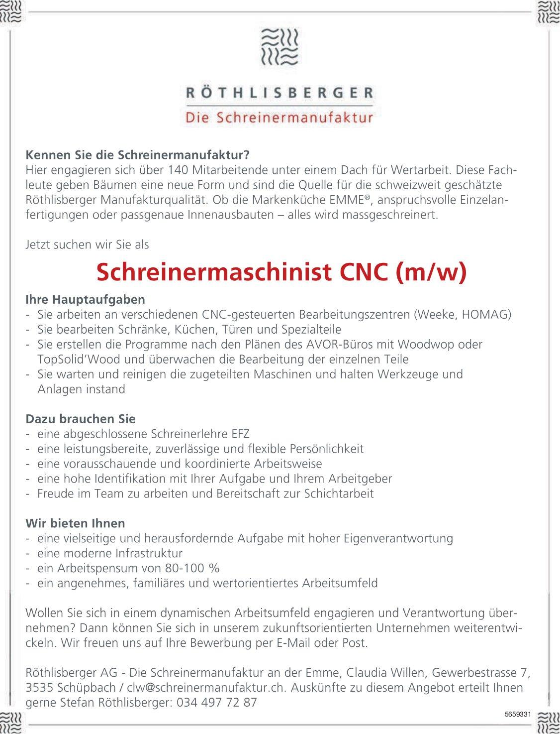 Schreinermaschinist CNC (m/w), Röthlisberger AG, Schüpbach, gesucht