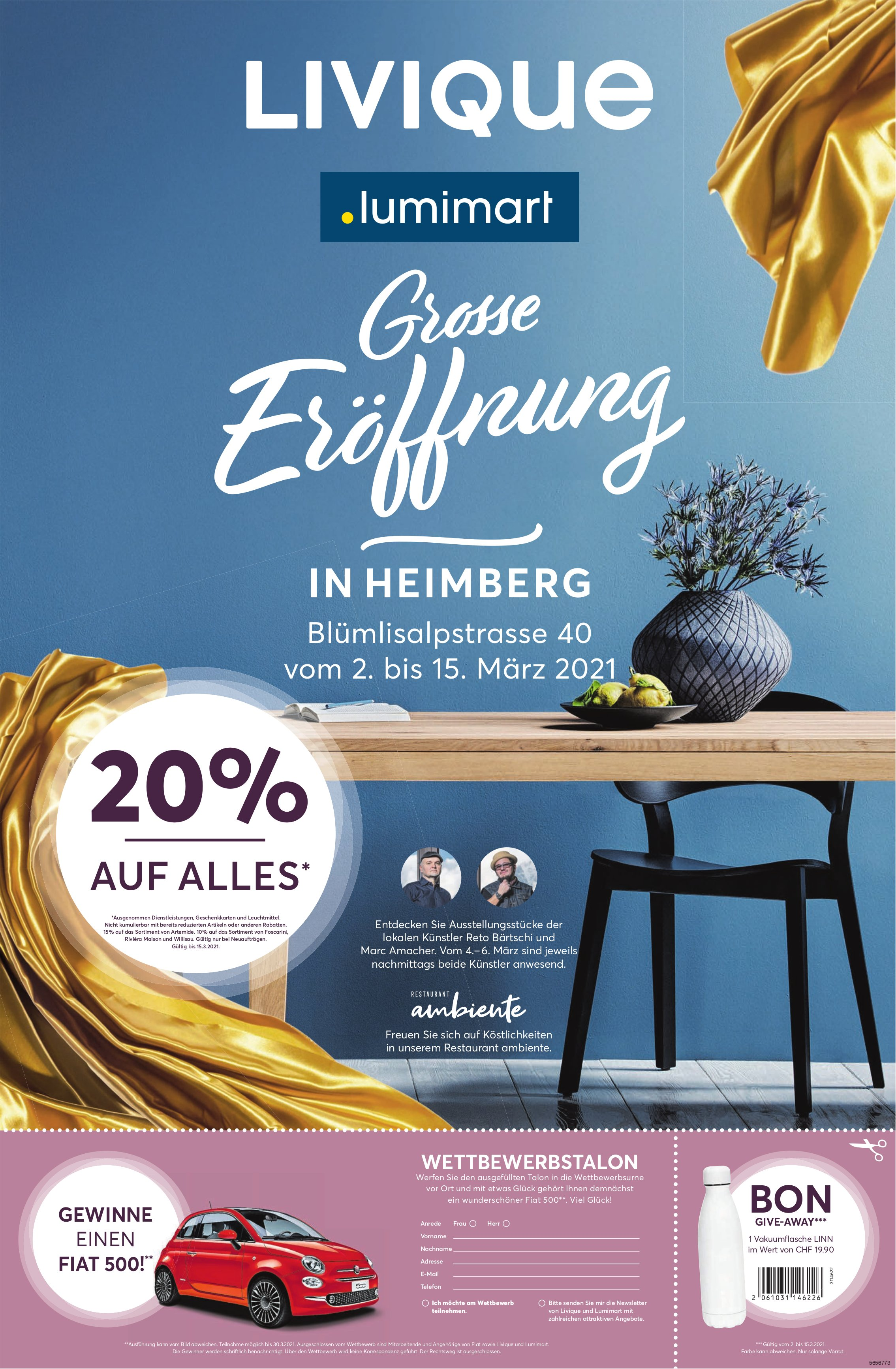 Grosse Eröffnung, 2. März, Livique, lumimart, Heimberg
