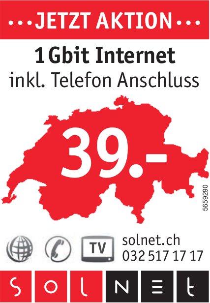 Solnet - ...Jetzt Aktion...1 Gbit Internet, inkl. Telefon Anschluss