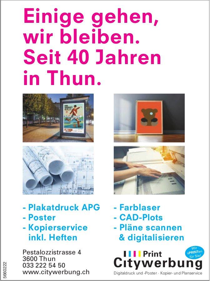Print Citywerbung, Thun - Einige gehen, wir bleiben. Seit 40 Jahren in Thun.