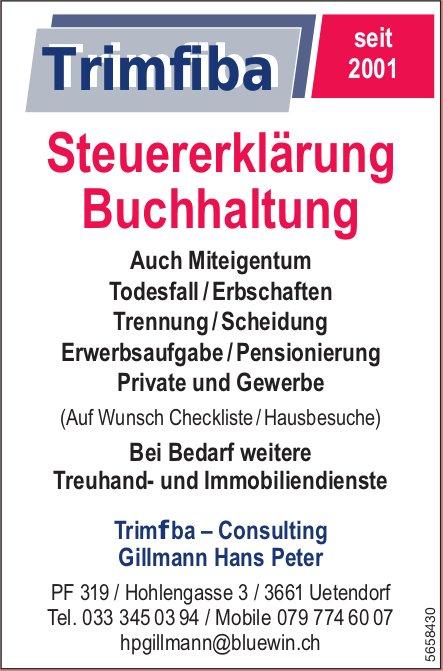 Trimfiba–Consulting, Gillmann Hans Peter, Uetendorf - Steuererklärung, Buchhaltung