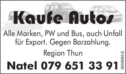 Kaufe Autos: Alle Marken, PW und Bus,  auch Unfall für Export.