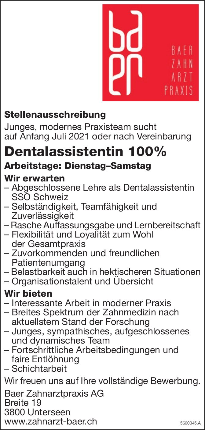 Dentalassistentin 100%, Baer Zahnarztpraxis AG, Unterseen, gesucht