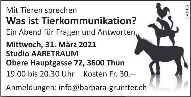 Was ist Tierkommunikation? Ein Abend für Fragen und Antworten, 31. März, Thun