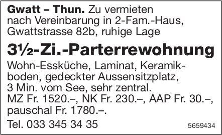 3½-Zi.-Parterrewohnung, Gwatt-Thun, zu vermieten