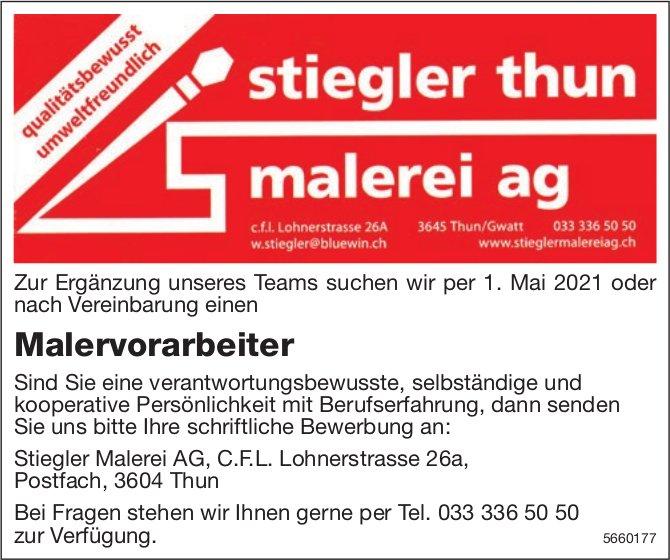 Malervorarbeiter, Stiegler Malerei AG, Thun, gesucht