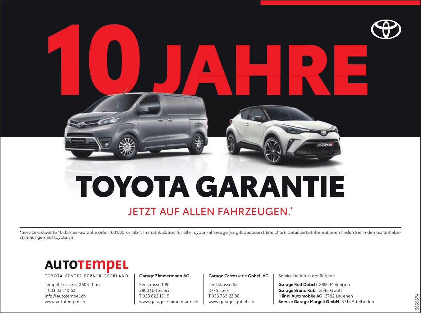 Autotempel AG, Thun - 10 Jahre Toyota Garantie