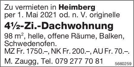 4½-Zi.-Dachwohnung, Heimberg, zu vermieten
