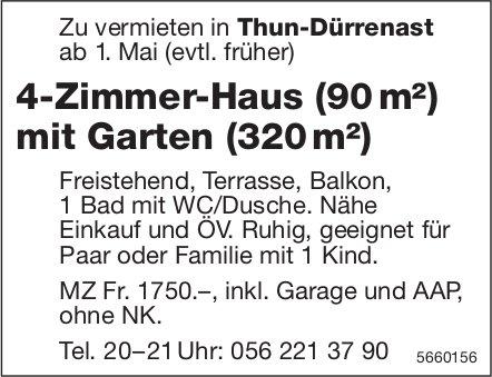 4-Zimmer-Haus (90 m²) mit Garten (320 m²), Thun-Dürrenast, zu vermieten