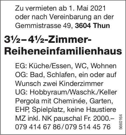 3½ – 4½-Zimmer- Reiheneinfamilienhaus, Thun, zu vermieten