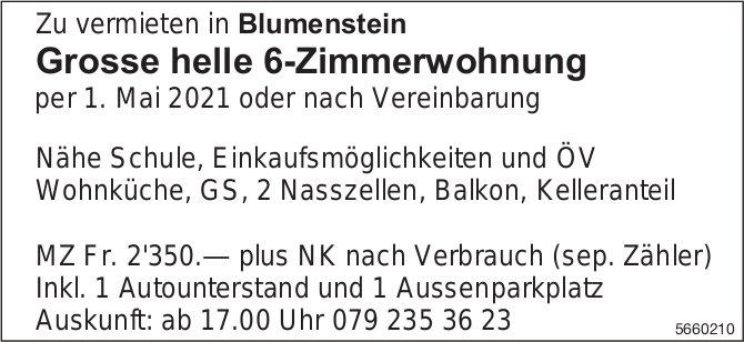 Grosse helle 6-Zimmerwohnung, Blumenstein, zu vermieten
