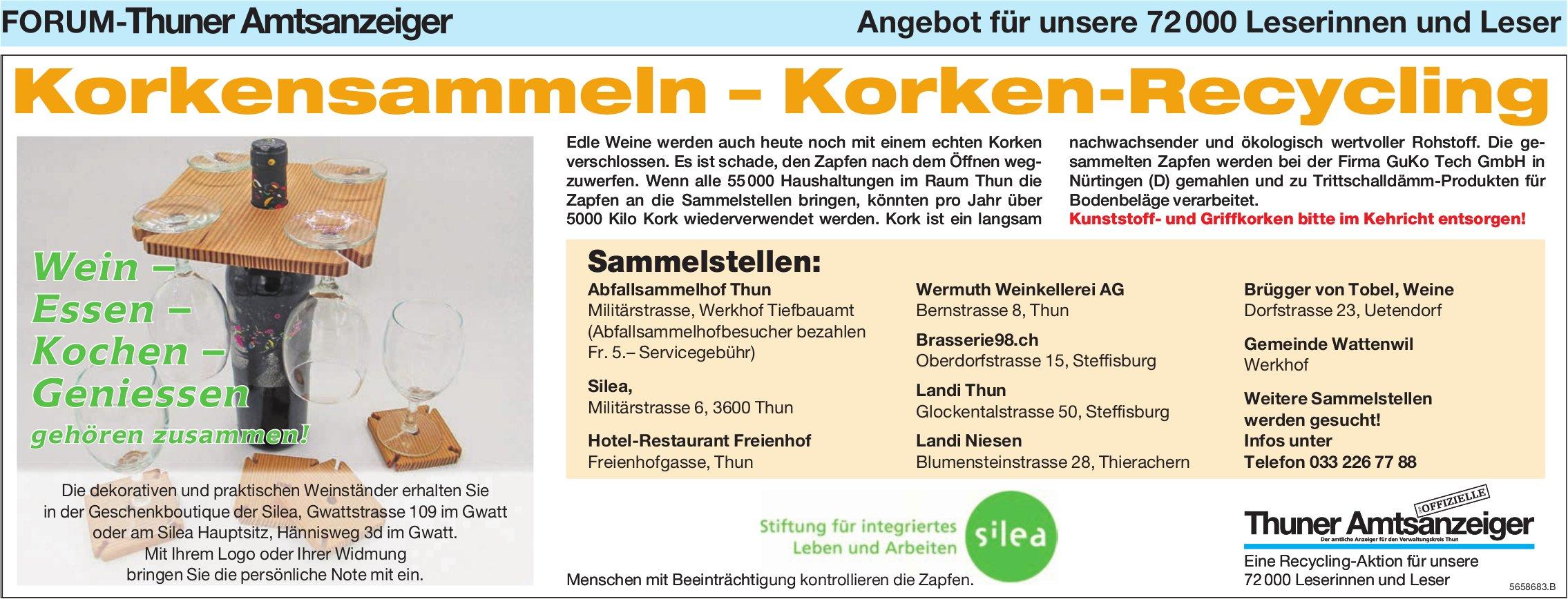 Forum-Thuner Amtsanzeiger/ Silea - Korkensammeln – Korken-Recycling