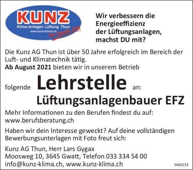 Lehrstelle Lüftungsanlagenbauer EFZ, Kunz AG, Gwatt, zu vergeben
