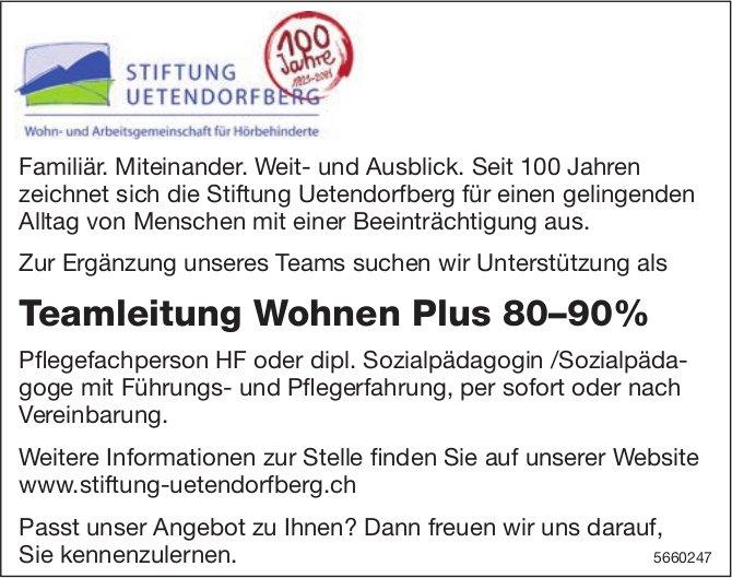 Teamleitung Wohnen Plus 80–90%, Stiftung Uetendorfberg, gesucht