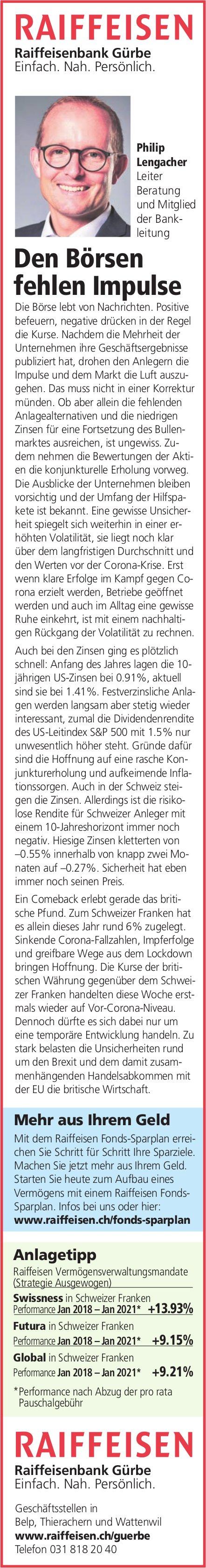 Raiffeisenbank Gürbe - Den Börsen fehlen Impulse