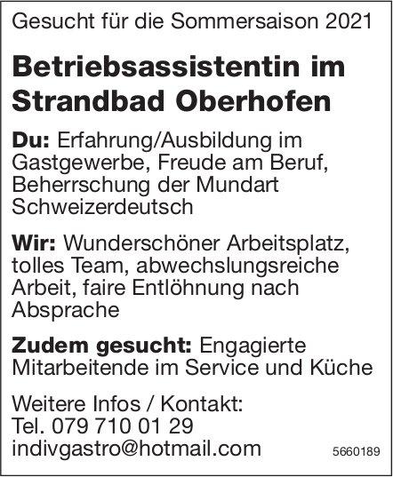 Betriebsassistentin im Strandbad Oberhofen, gesucht