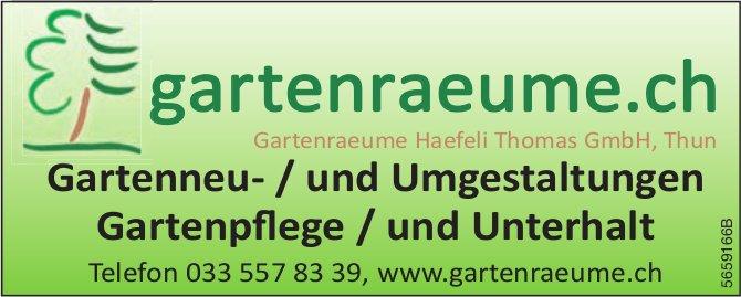 Gartenraeume Haefeli Thomas GmbH, Thun - Gartenneu- /und Umgestaltungen, Gartenpflege / und Unterhalt