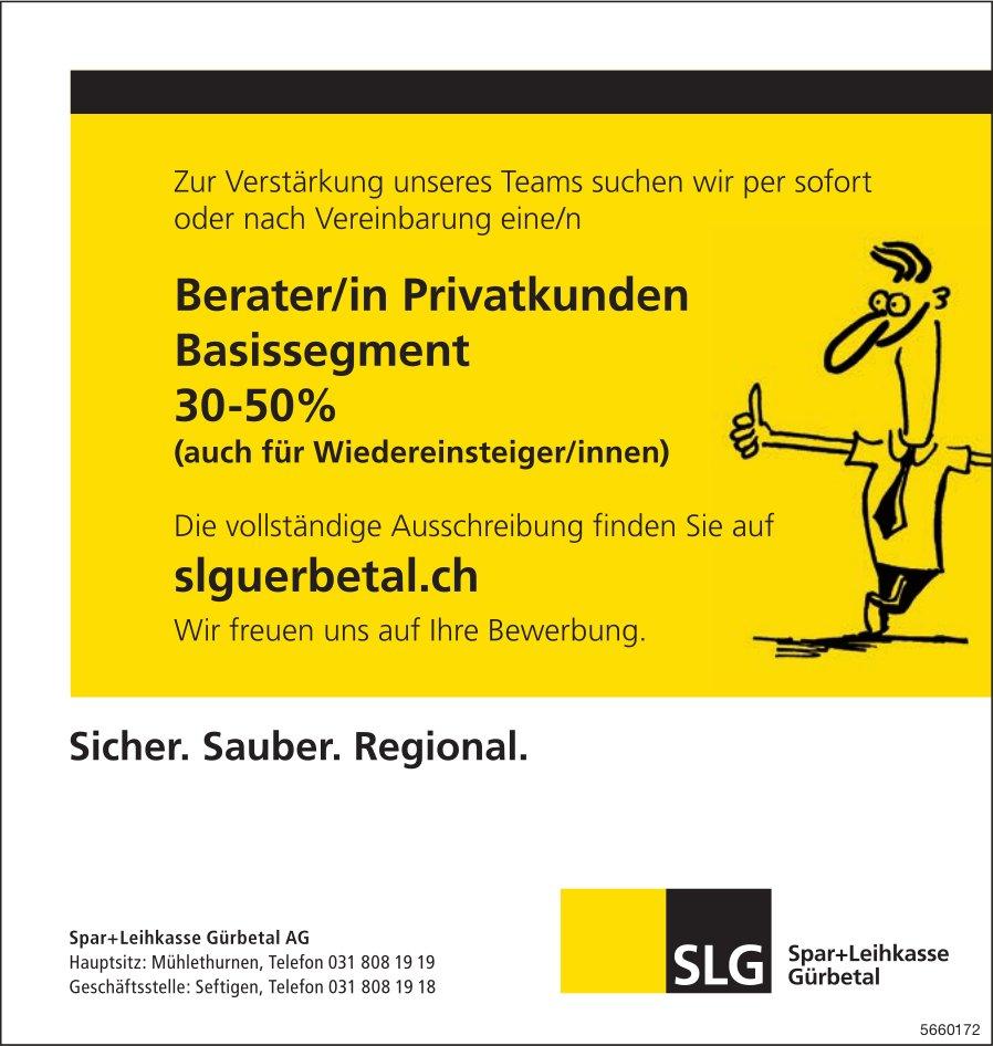 Berater/in Privatkunden Basissegment 30-50 %, Spar+Leihkasse Gürbetal AG, Seftigen, gesucht